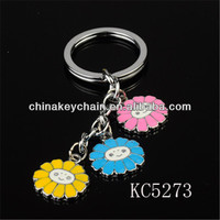 Three Little Flower With A Smiling Face Key Chain