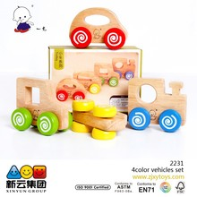 color wood 4pcs vehicles set 2015 new wooden toys