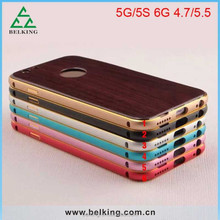 Wooden Design Case for iphone 6 Wood back cover with Metal bumper