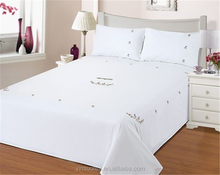plain white 100% cotton hand embroidered bed sheet