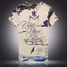 Beige alphabet print custom made t-shirt