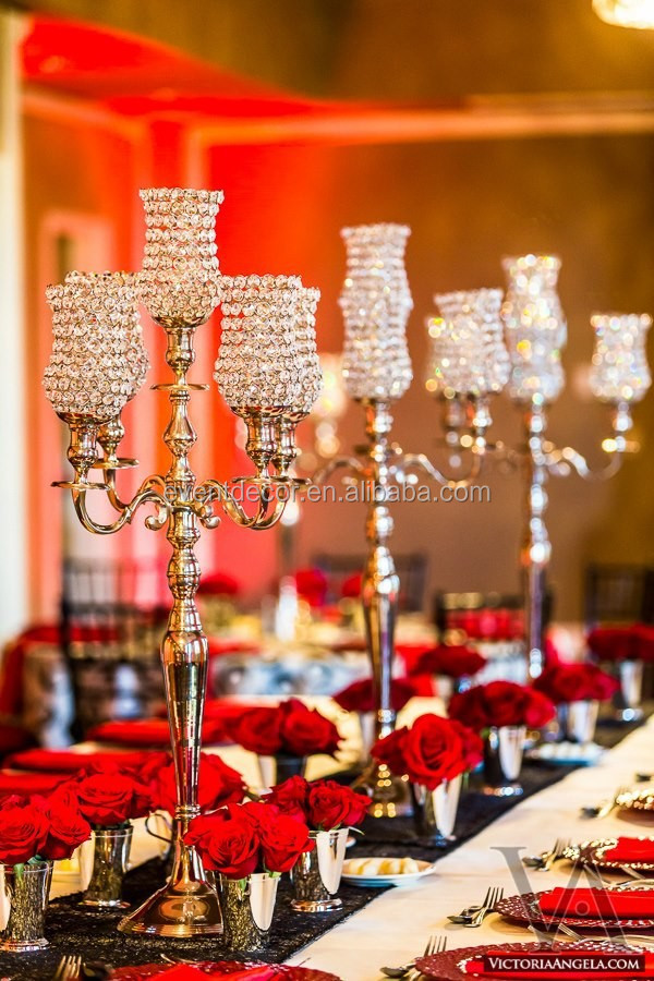 Tall candelabra centerpieces wedding crystal on