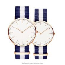 custom brand classic nylon strap vogue watch for men and ladies
