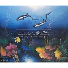 Handmade Killer Whales Orca Tropical Fish Ocean undersea Oil Painting