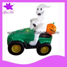 2015 Gus-LTHW-013 Inflatable led light white ghost driving the motorcycle with pumpkin for holloween decoration