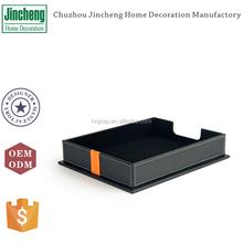 Black plain stitching leather desk organizer tray, desk organizer document tray, office document holder