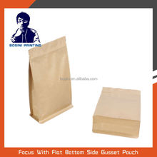 Kraft paper packaging bags stand up with zipper pouch