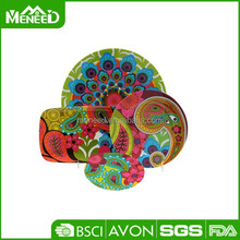 Rectangular & round contemporary backyard parties durable delux colorful dinnerware set