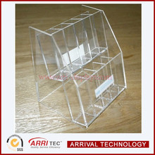 double layer 10 pcs custom square hole makeup cosmetic storage display high clear acrylic small eyebrush lilpstick holder