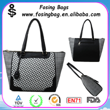 Factory wholesale Black and white woven the single shoulder tote bag genuine leather to be customized