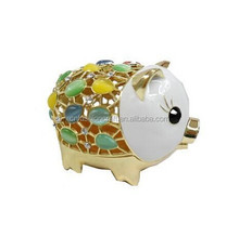 pig crystal metal jewelry box hand made white color
