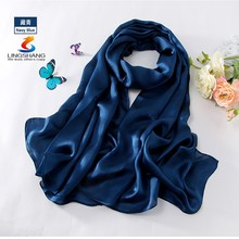 LINGSHANG W4159 wholesale fashionable elegant accessories solid color long silk hijab scarf
