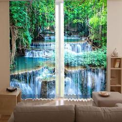 Ready Made Window Curtains Design Digital Water Curtain