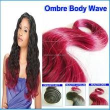 Ombre Red Wine Hair Color, Loose Body Wave Hair Weaving, Brazilian Human Hair Sew In Weave