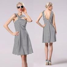 Women Sexy Cross Front Deep V Back Stripe Sleeveless Black and White Striped Prom Evening Dress YC000145