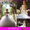 CE1077 Gergeous Sheer long Sleeve Heavy Beaded Bridal Gown Wedding Dresses 2015