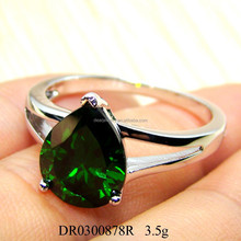 Fashion Jewelry 925 Sterling Silver Created Emerald Ring For Gift
