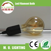 Highly bright Chinese supplier golden color 360 degree beam angle g80/g95/g125 led filament lighting bulb