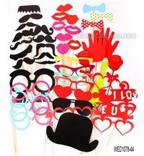 44 Pcs Photo Booth Props Lips Moustache On Stick For Wedding Party Photography