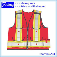 100%polyester class 2 good quality red safety vest high visible clothing