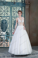 Sale Spaghetti Strap White Tulle Appliques Lace Made To Order V Neck See Through Transparent See Through Wedding Dresses China