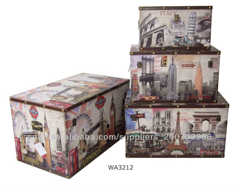 Caja de almacenamiento conjunto de 4 londres- nueva york- paris- roma- it