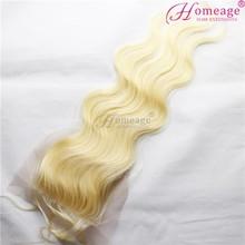Homeage 613 blonde hair weave virgin brazilian bundles silk base top closure, cheap lace closure fringe