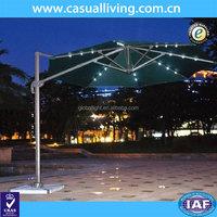 Factory Production Waterproof Crank Navy Blue Lighted Patio Umbrella