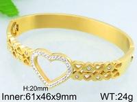22k gold plating elegant jewelry beautiful heart pearl bangle for girl
