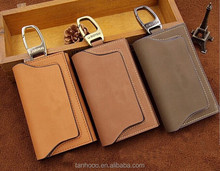 oem fashion cowskin leather key ring credit card holder for muliple keys