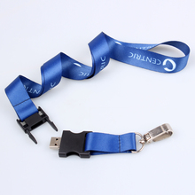 Blue color heat printed white letters lanyard usb flash drive