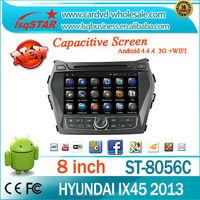 Android 4.4.4 Car radio player for Hyundai IX45/Santa Fe 2013 with Quad-core 1024*600 Resolution 16GB Mirror