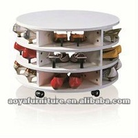 AY-ZR-001 modern high gloss wooden round shoe rack