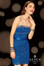 2014 Latest Fashion Dress Design Sweetheart Sleeveless Blue Crystal Lace Mini 4398 Bridal Dresses for a Prices