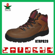 Embossed leather steel toe cap men dc safety shoes