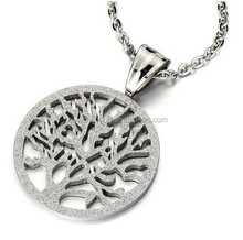 Circle Tree of Life Pendant Necklace Stainless Steel Satin Finished with 20 Inches Chain