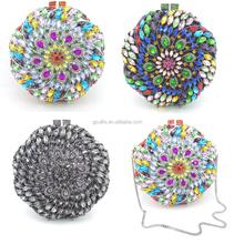 Wholesale Fashionable Color crystal clutch bags,designer evening crystal bag by handmake for wedding