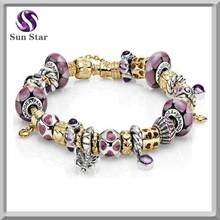 Fashion silver pink charms 22k gold thin chain bracelet, custom bracelet