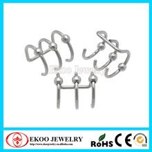 Steel Triple Hoop Cartilage Clip On with Balls Ear Cartilage Piercing Jewelry