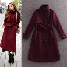 2015 winter newest luxury woolen coats / long overcoats with sashes in plus size for adults women OEM service