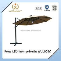 Outdoor Roma Cantilever Aluminum Giant Balcony Umbrella With LED Lights