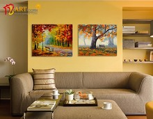 Fabric abstract oil painting autumn landscape