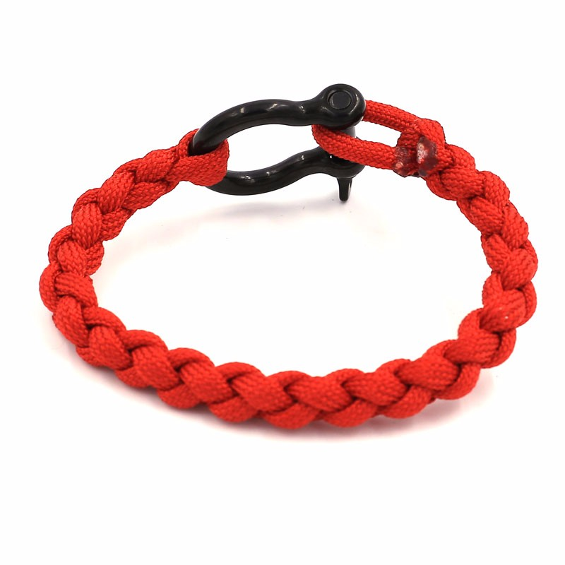Handmake Red Braided Cord 316L Stainless Steel PVD Plated High Polished Black Shackle Wristband Jewelry