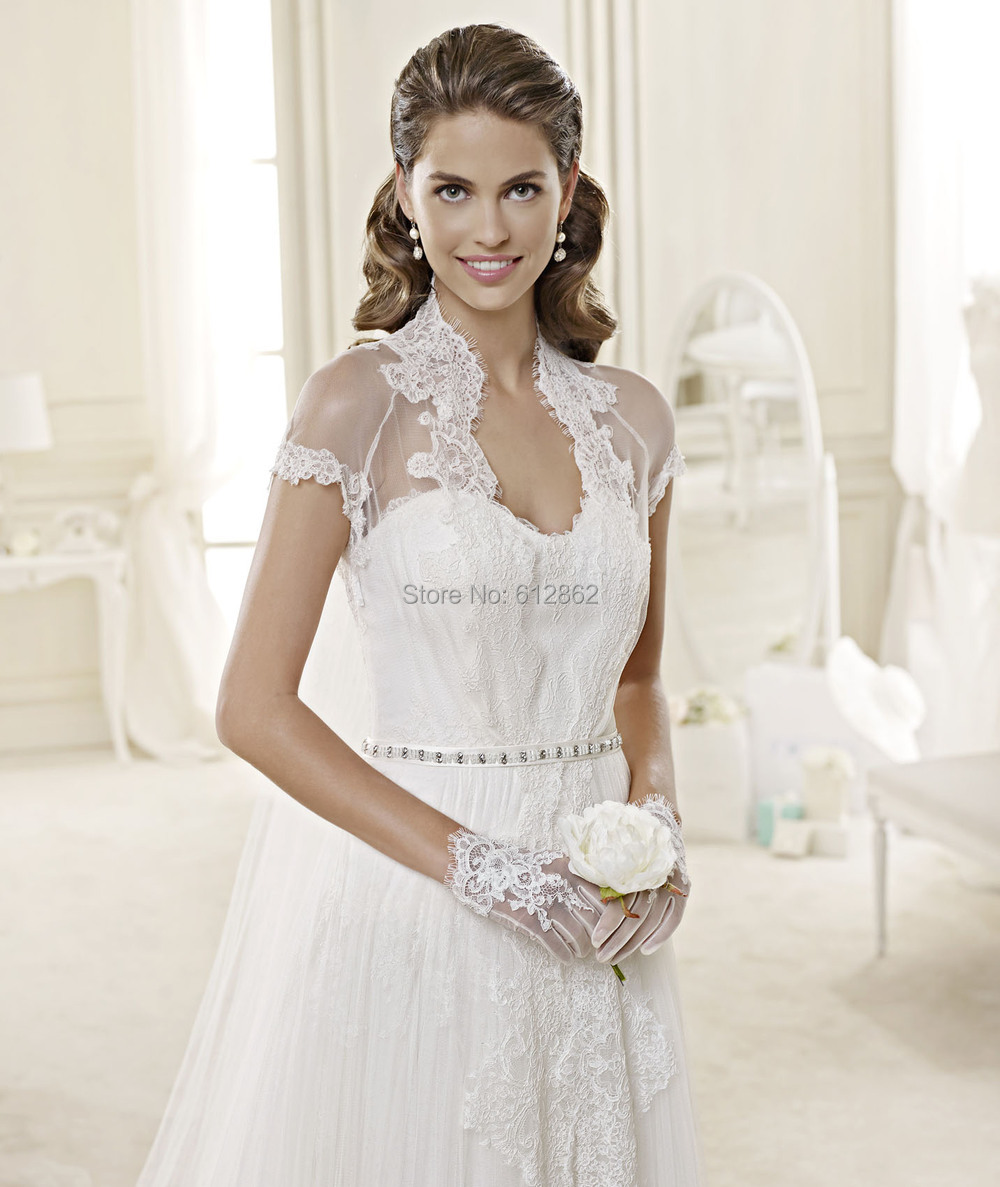 Buy short sleeve lace covered back for Cream colored lace wedding dresses