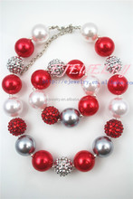 Handmade collar bead trim kid girl chunky necklace for baby pearl chunky necklaceCB492