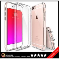 Keno All New Dust Free Cap Crystal Clear Shock Absorption TPU Bumper Drop Protective Hard Back Case for iPhone 6S