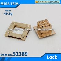 No.51389 quadrate hardware turn twist lock for bag accessory metal turn twist lock