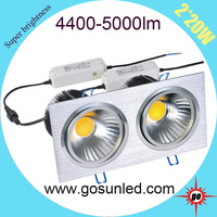 adjustable ceiling light 40w/2*20w led recessed downlight