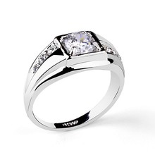 Fashion hot big CZ diamond Saudi Man Silver Rings