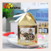 Gold color paper box gift box packaging box laser cut wedding decoration chocolate packaging box with ribbon